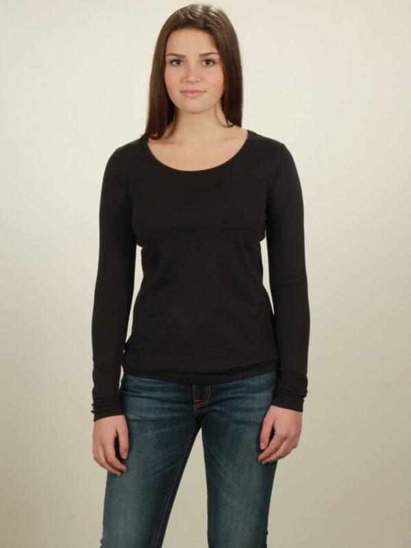 Damen-Longsleeve basic in black, von NATIVE SOULS