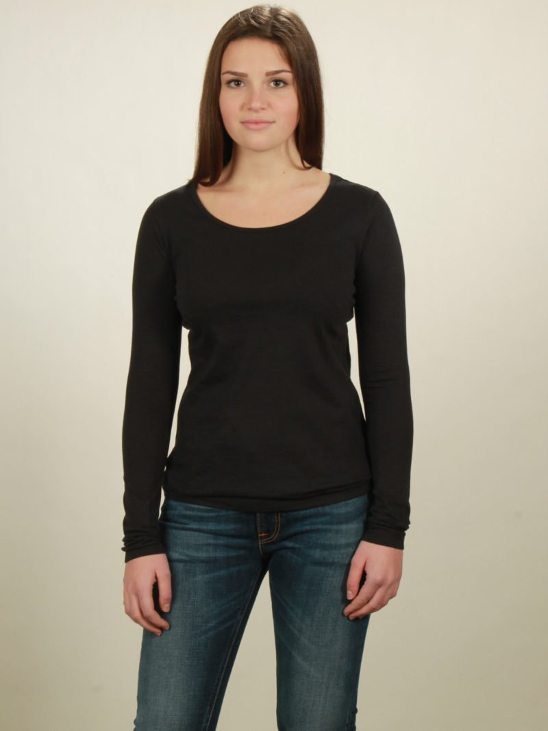 Damen-Longsleeve basic in black, von NATIVE SOULS