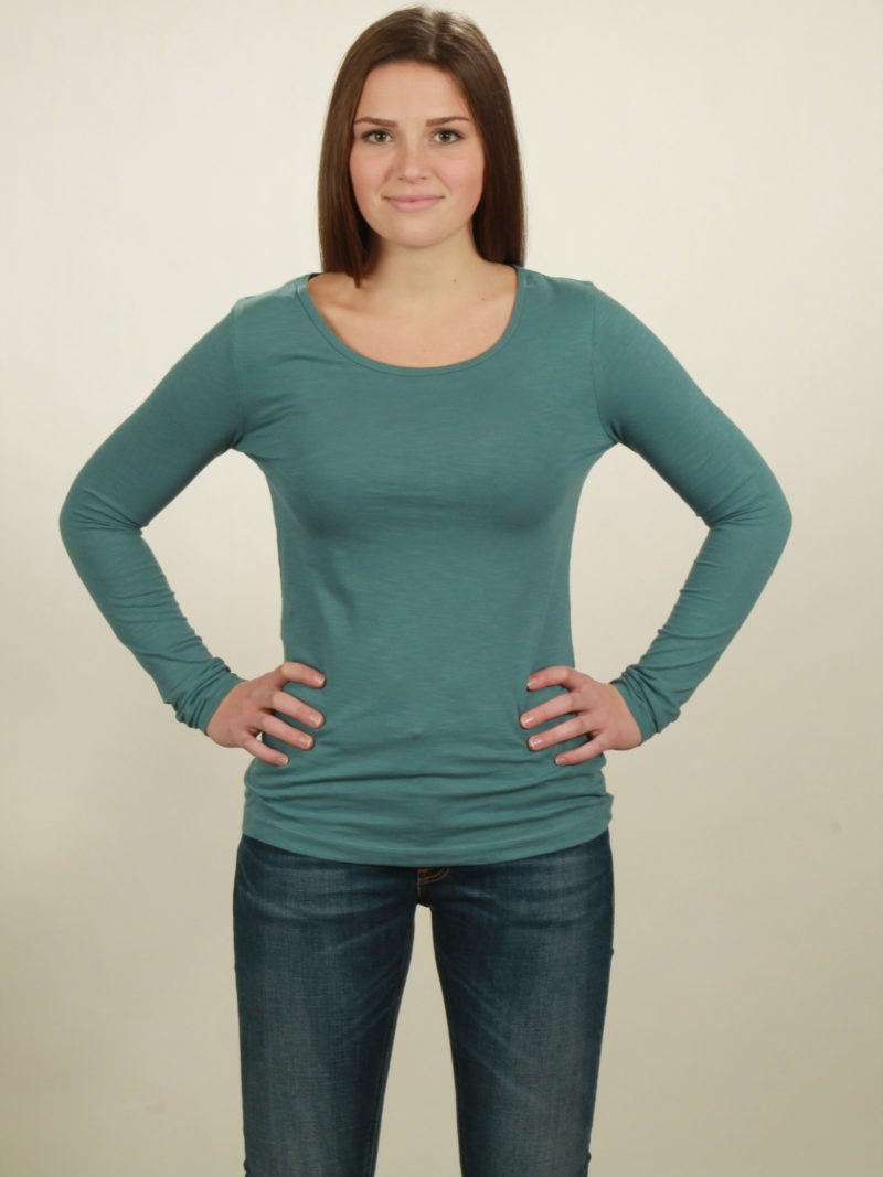 Damen-Longsleeve basic in light turquoise, von NATIVE SOULS