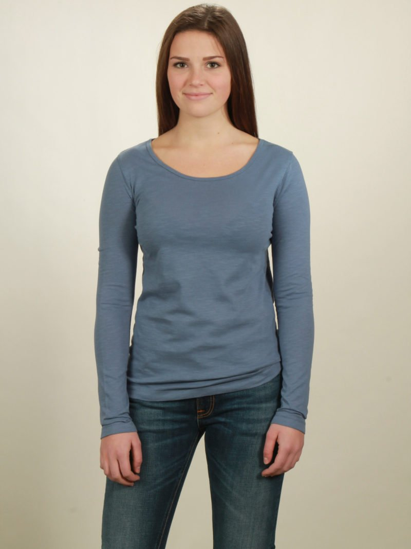 Damen-Longsleeve basic in smoke blue, von NATIVE SOULS