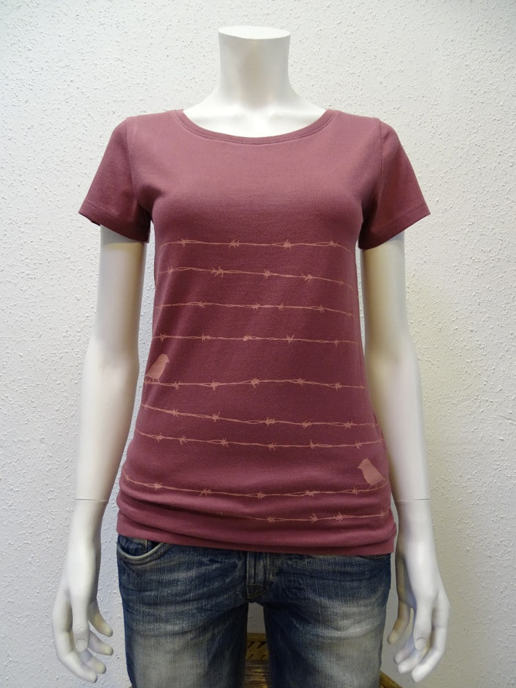 Damen T-Shirt Barbwire - berry - NATIVE SOULS