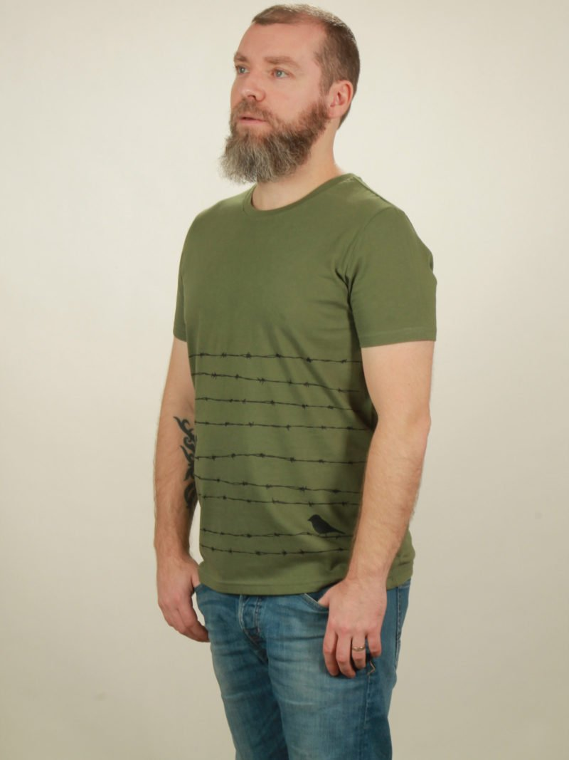 Herren-T-Shirt Barbwire - green - NATIVE SOULS