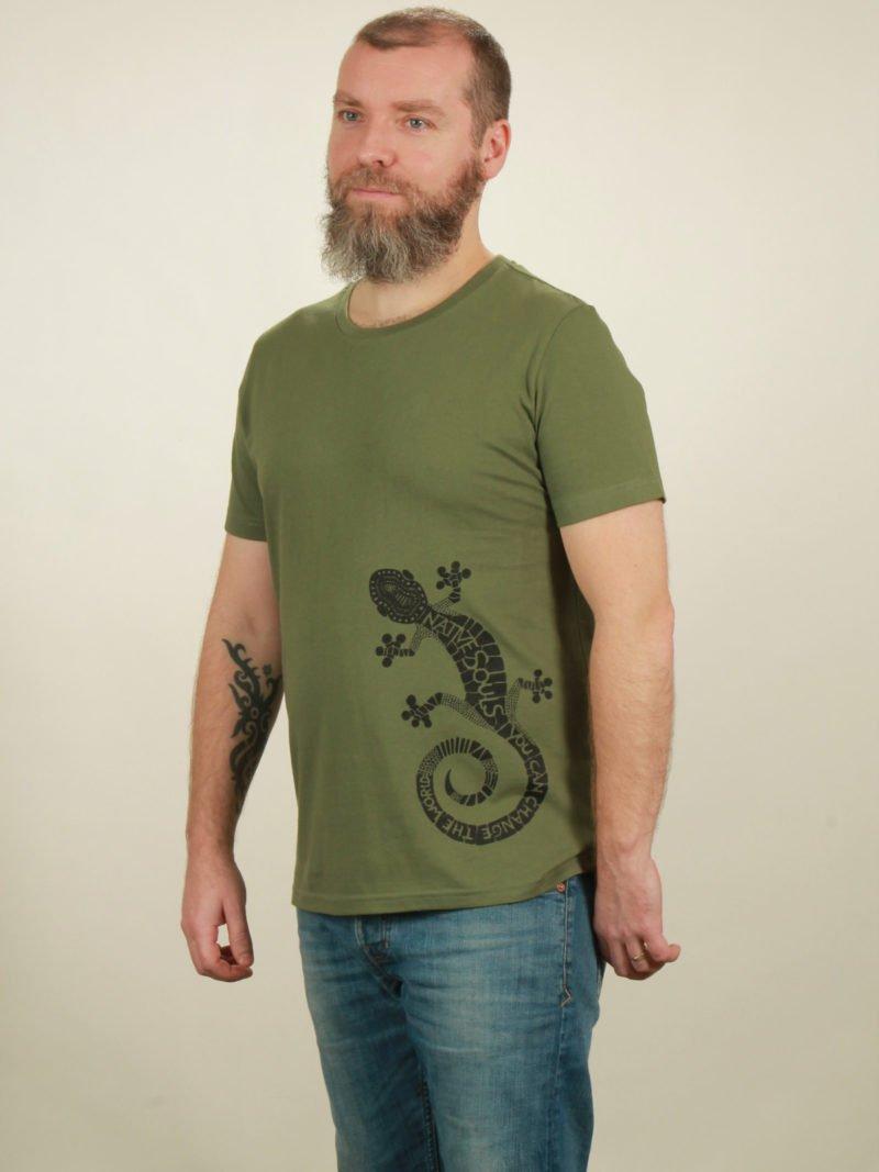 Herren-T-Shirt Gecko - green - NATIVE SOULS