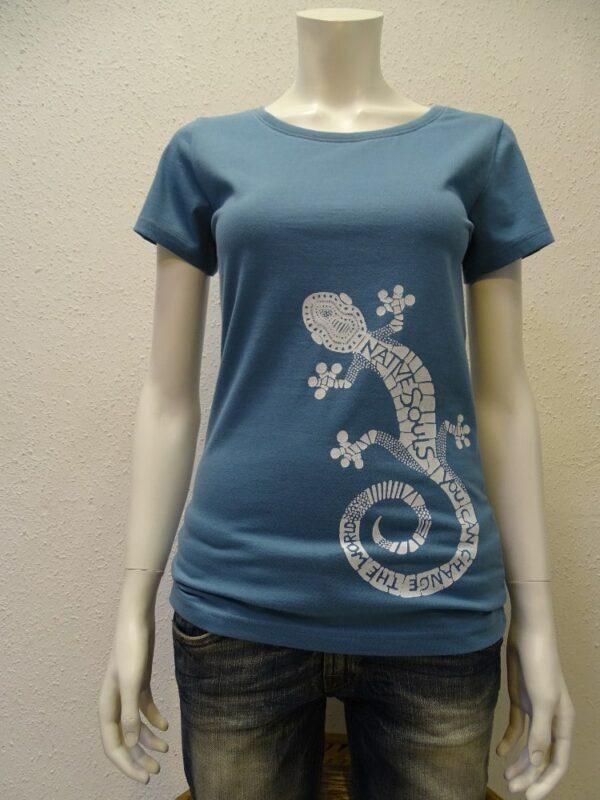 Damen T-Shirt GEcko - light blue - NATIVE SOULS