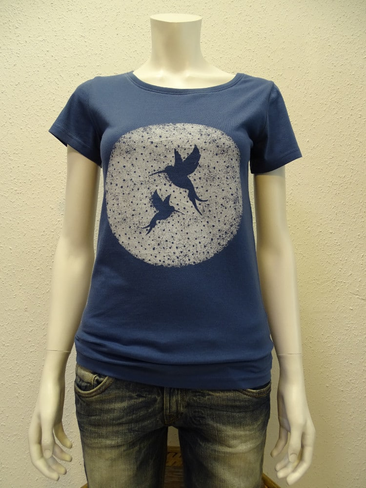 Damen T-Shirt Two Kolibris - dark blue - NATIVE SOULS