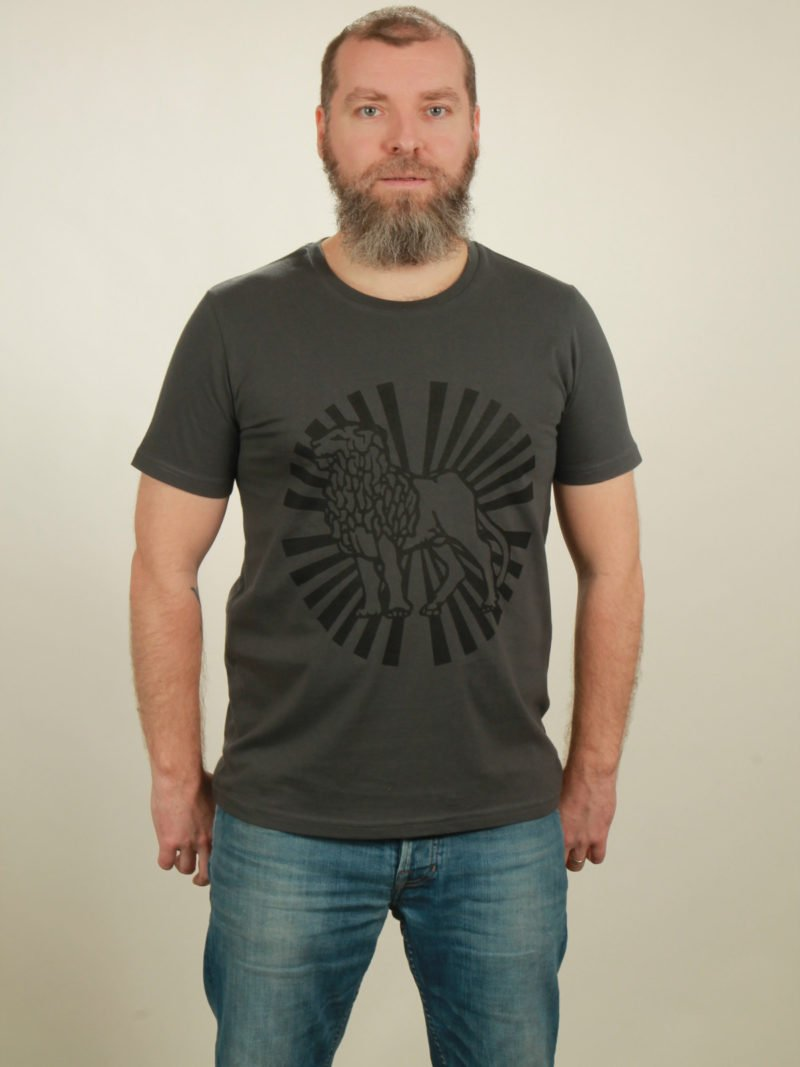 Herren-T-Shirt Lion Sun - dark grey - NATIVE SOULS