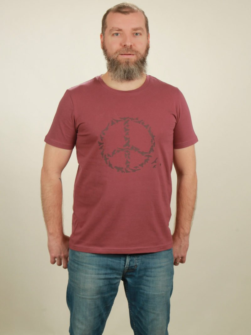 Herren-T-Shirt Peace - berry - NATIVE SOULS