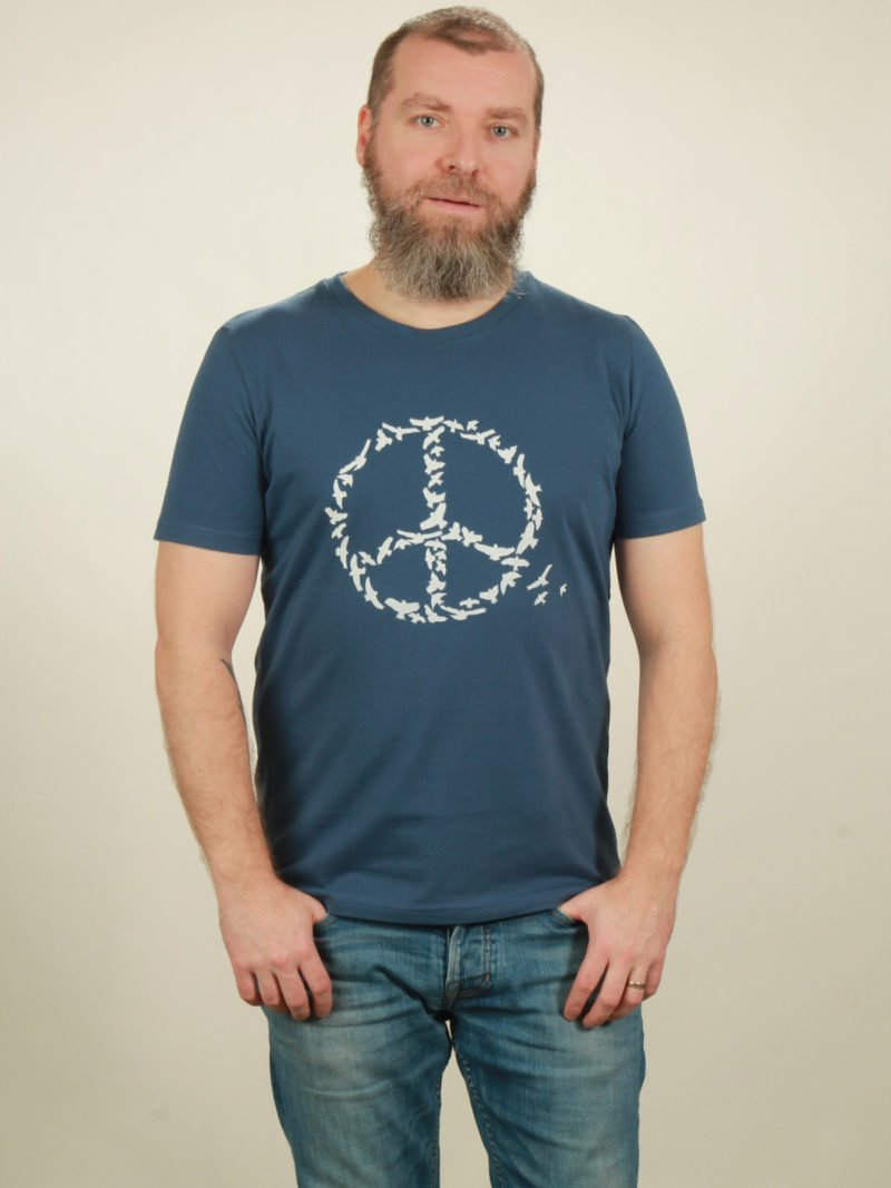 Herren-T-Shirt Peace - dark blue - NATIVE SOULS