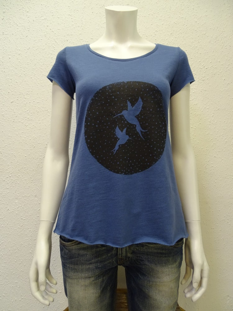 Slub-T-Shirt Damen Two Kolibris, dark blue, von NATIVE SOULS