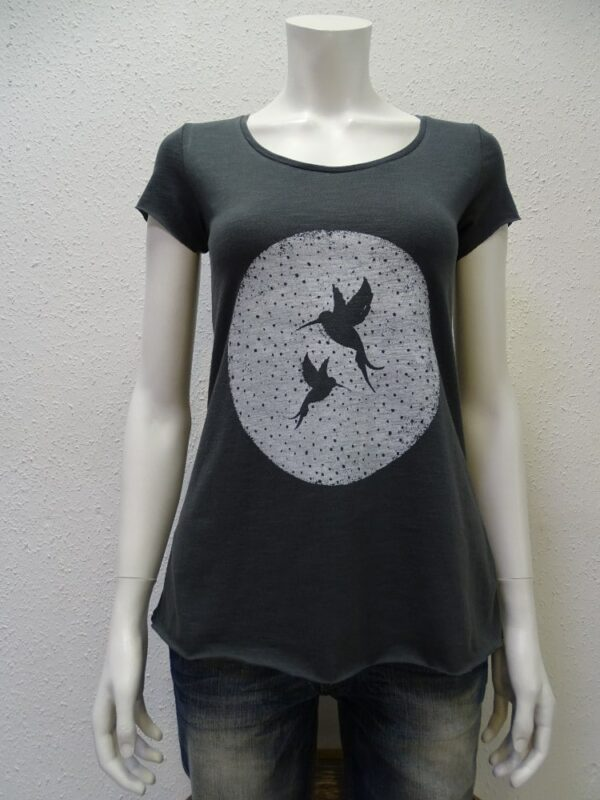 Slub-T-Shirt Damen Two Kolibris, dark grey, von NATIVE SOULS