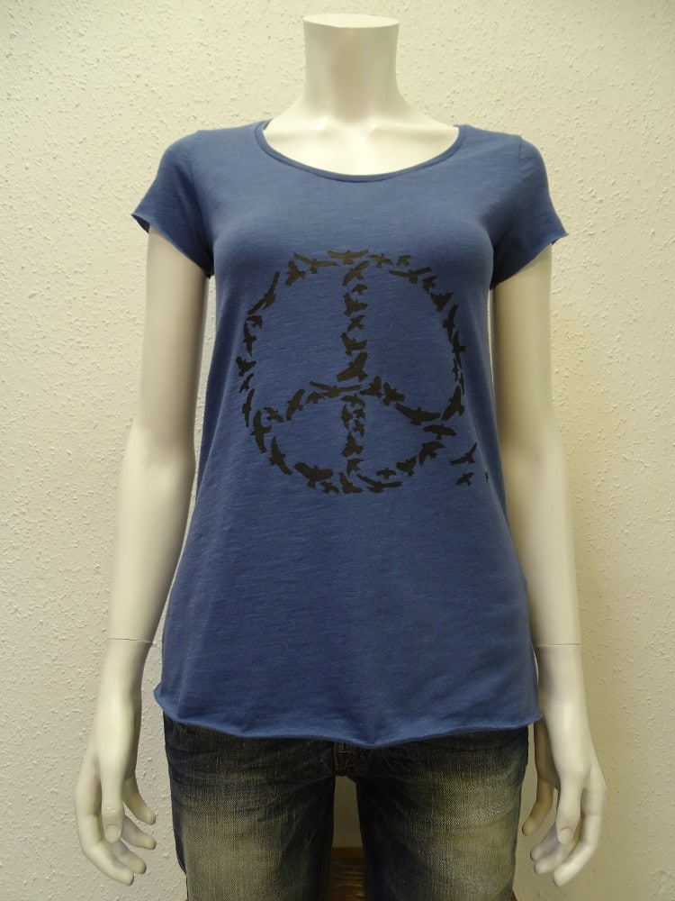 Slub-T-Shirt Damen Peace, dark blue, von NATIVE SOULS