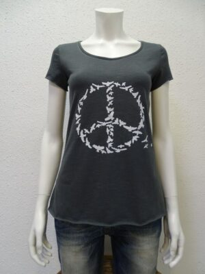 Slub-T-Shirt Damen Peace, dark-grey, von NATIVE SOULS