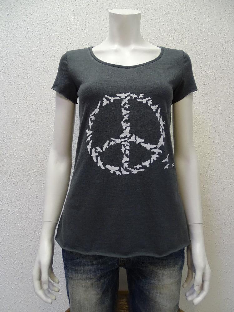 Slub-T-Shirt Damen Peace, dark-grey, von NATIVE SOULS