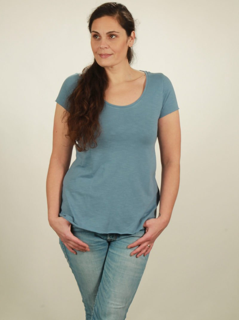Slub-T-Shirt Damen in light blue, von NATIVE SOULS