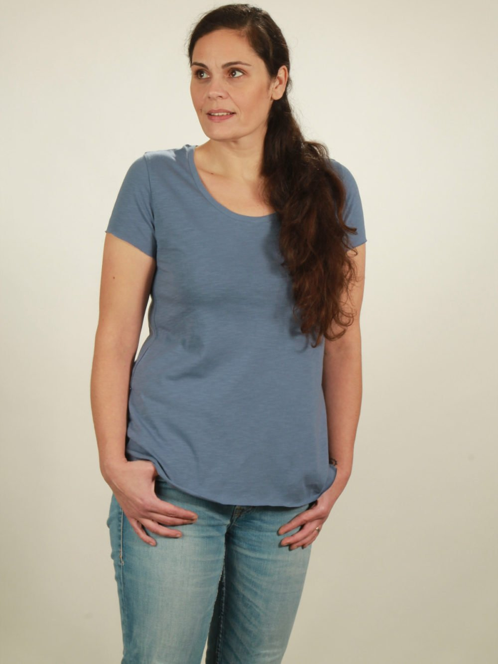 slub t-shirt smoke blue