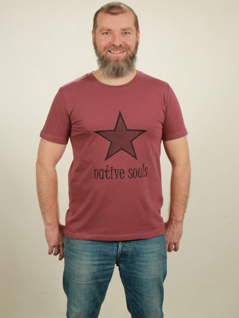 Herren-T-Shirt Star - berry - NATIVE SOULS