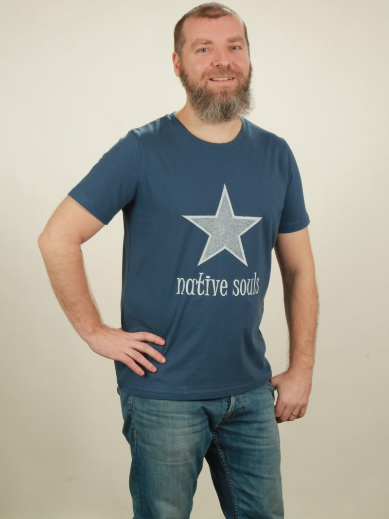 Herren-T-Shirt Star - dark blue - NATIVE SOULS