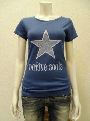 Damen-T-Shirt Star - dark blue - NATIVE SOULS