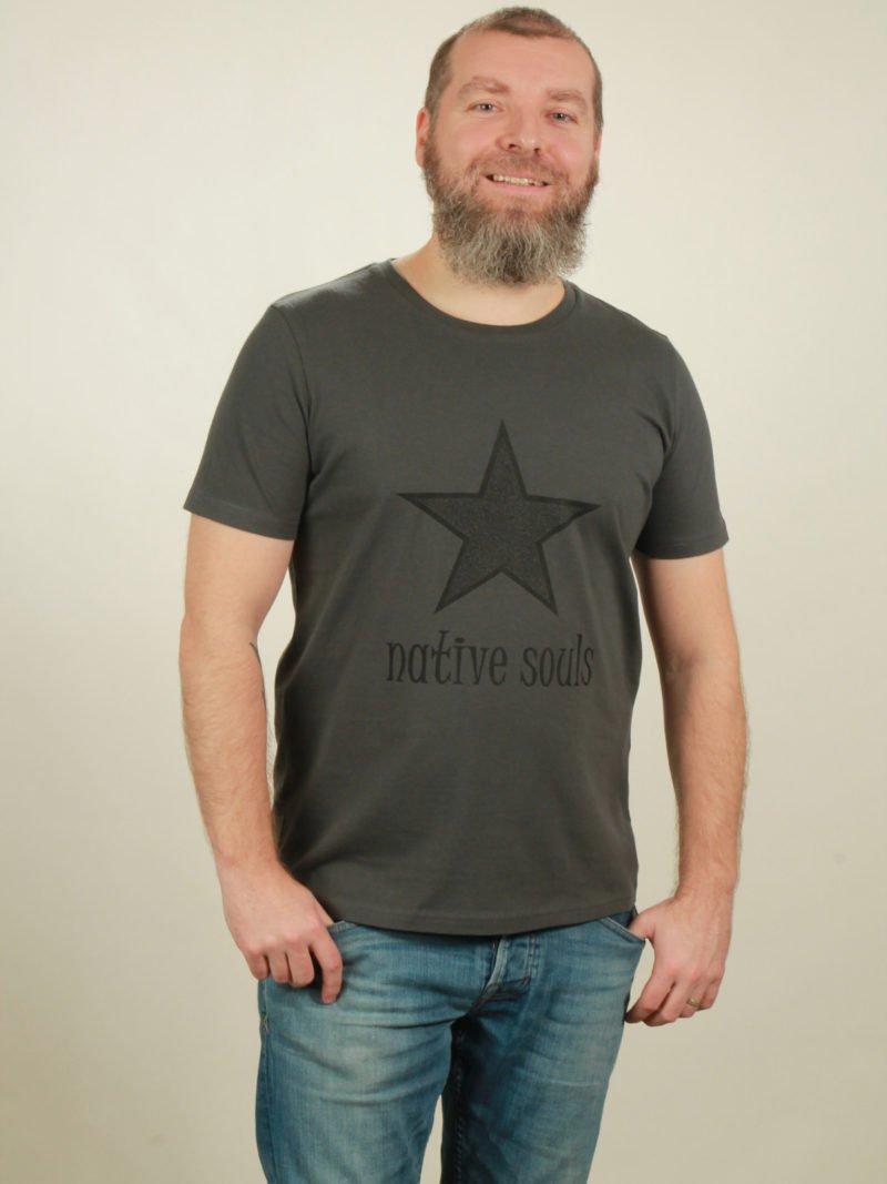 Herren-T-Shirt Star - dark grey
