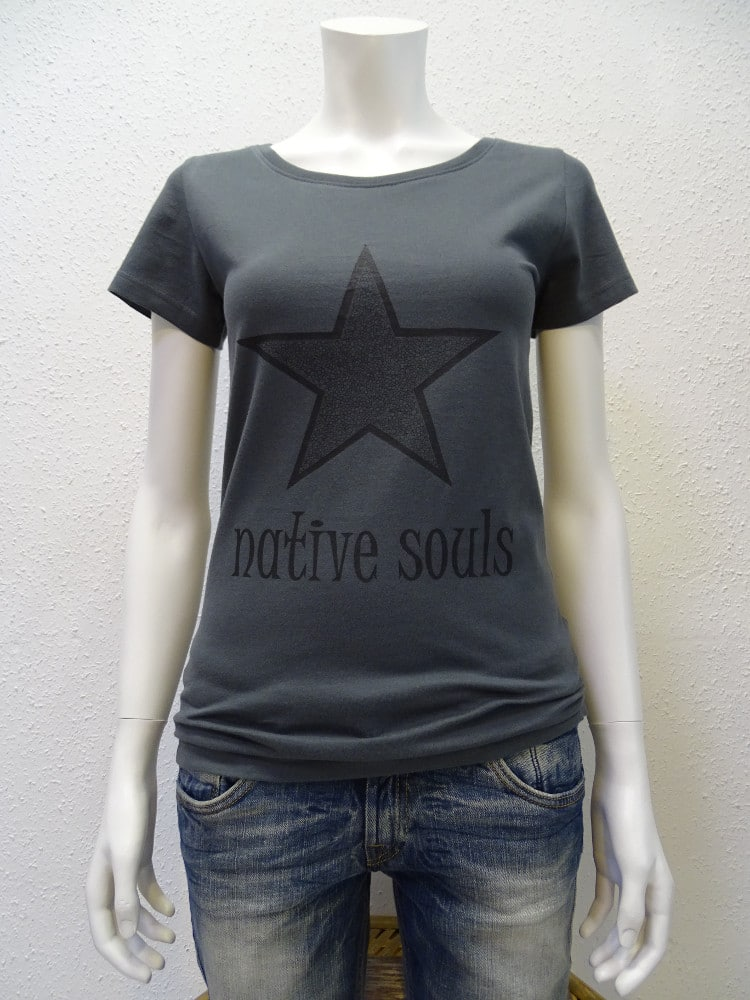 Damen-T-Shirt Star - dark grey - NATIVE SOULS