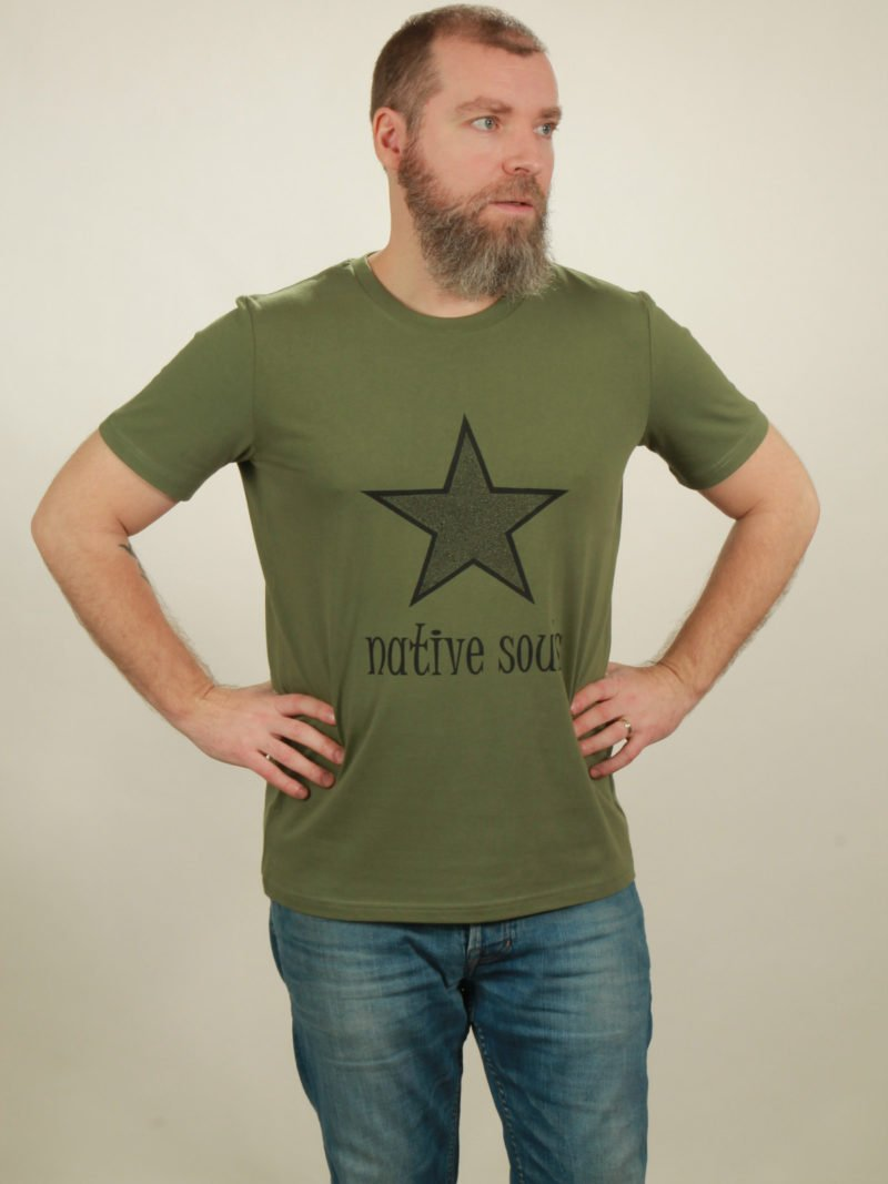 Herren-T-Shirt Star - green - NATIVE SOULS