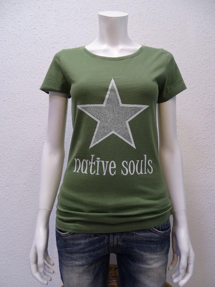 Damen-T-Shirt Star - green -NATIVE SOULS