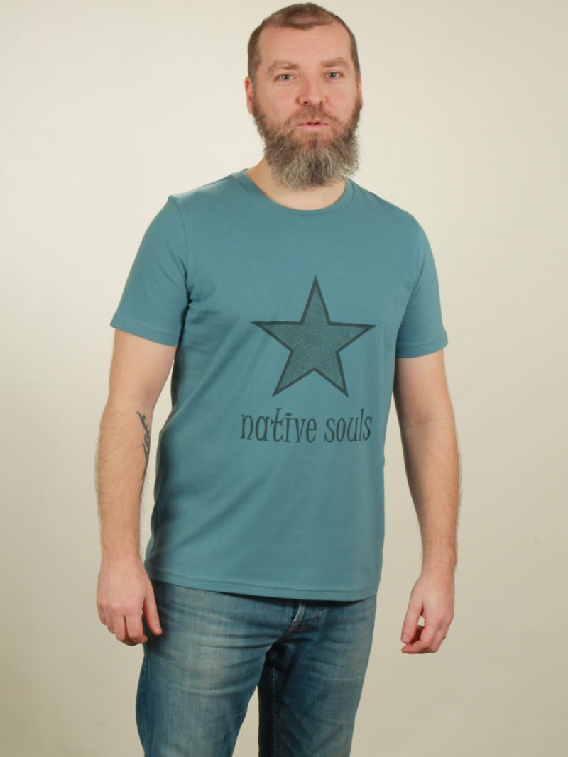 Herren-T-Shirt Star - light blue - NATIVE SOULS