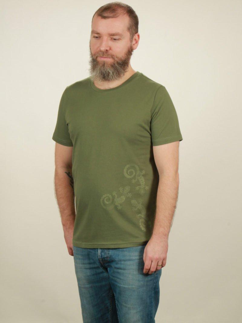 Herren-T-Shirt Three Geckos - green - NATIVE SOULS