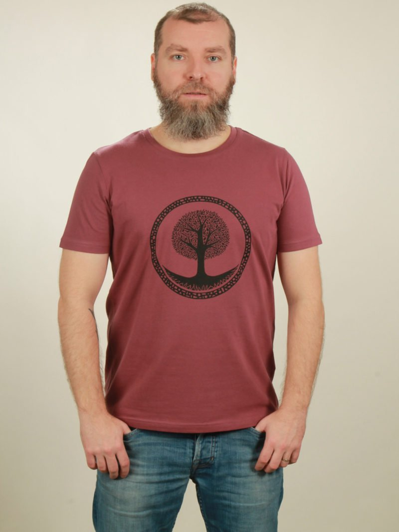 Herren-T-Shirt Tree - berry - NATIVE SOULS