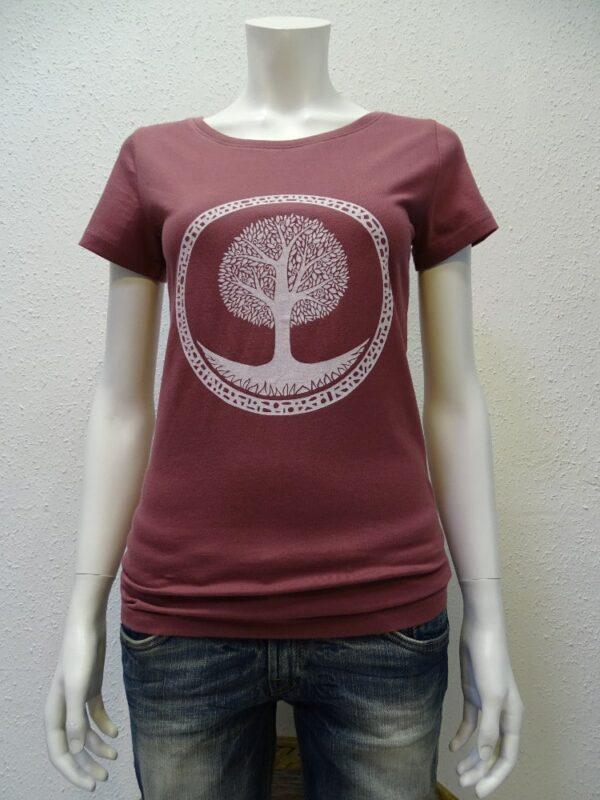 Damen T-Shirt Tree - berry - NATIVE SOULS