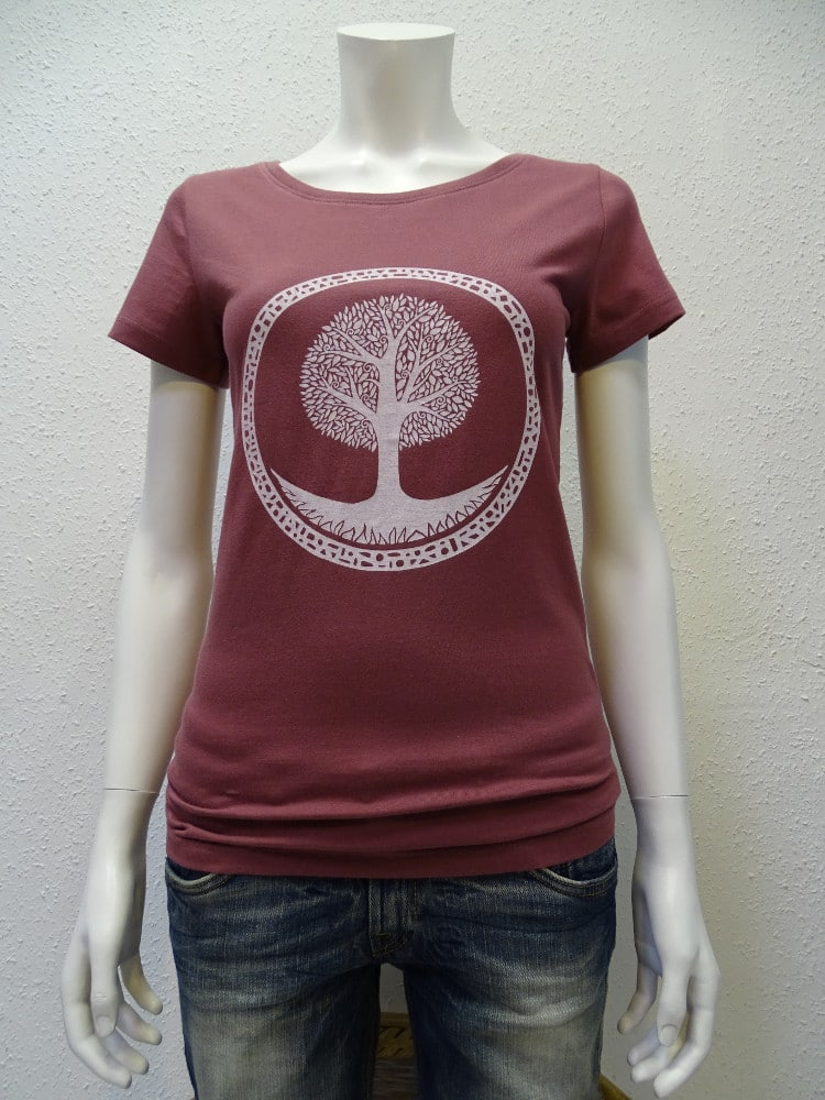 Damen T-Shirt Tree - berry - NATIVE SOULS