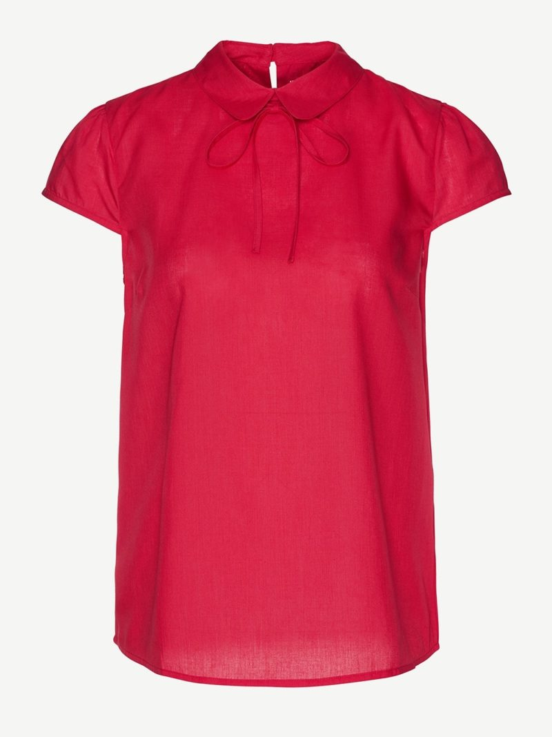ARMEDANGELS Bluse Alana ribbon red kurzarm Tencel