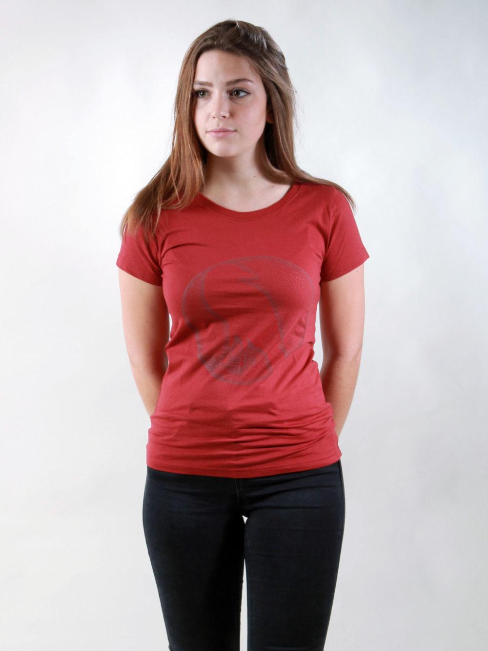 T-Shirt Damen Crow burning red