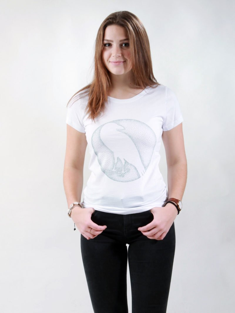 T-Shirt Damen Crow white