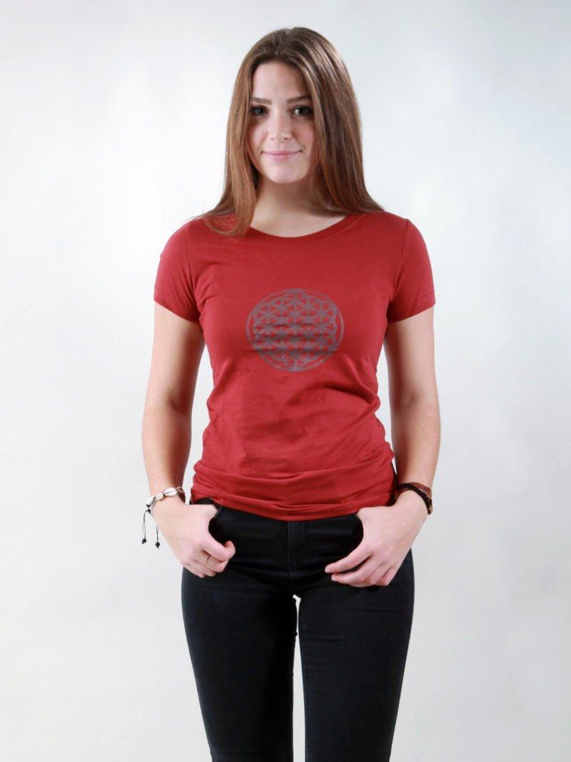 T-Shirt Damen Flower Of Life burning red