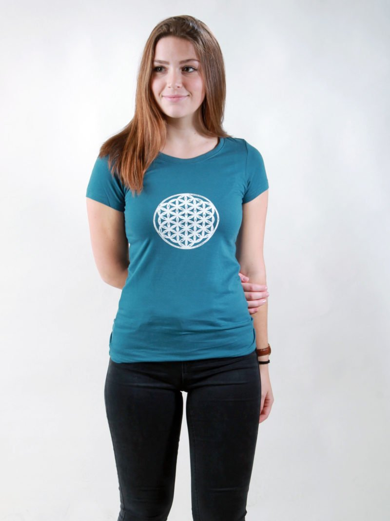 T-Shirt Damen Flower Of Life deep teal