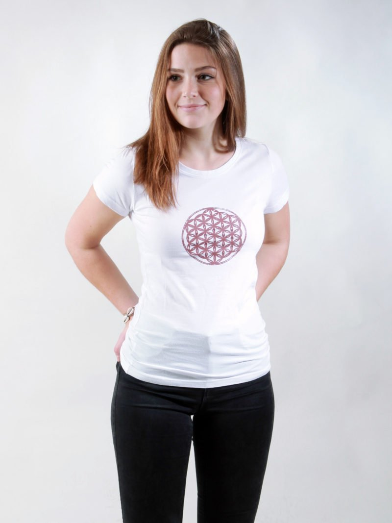 T-Shirt Damen Flower Of Life white