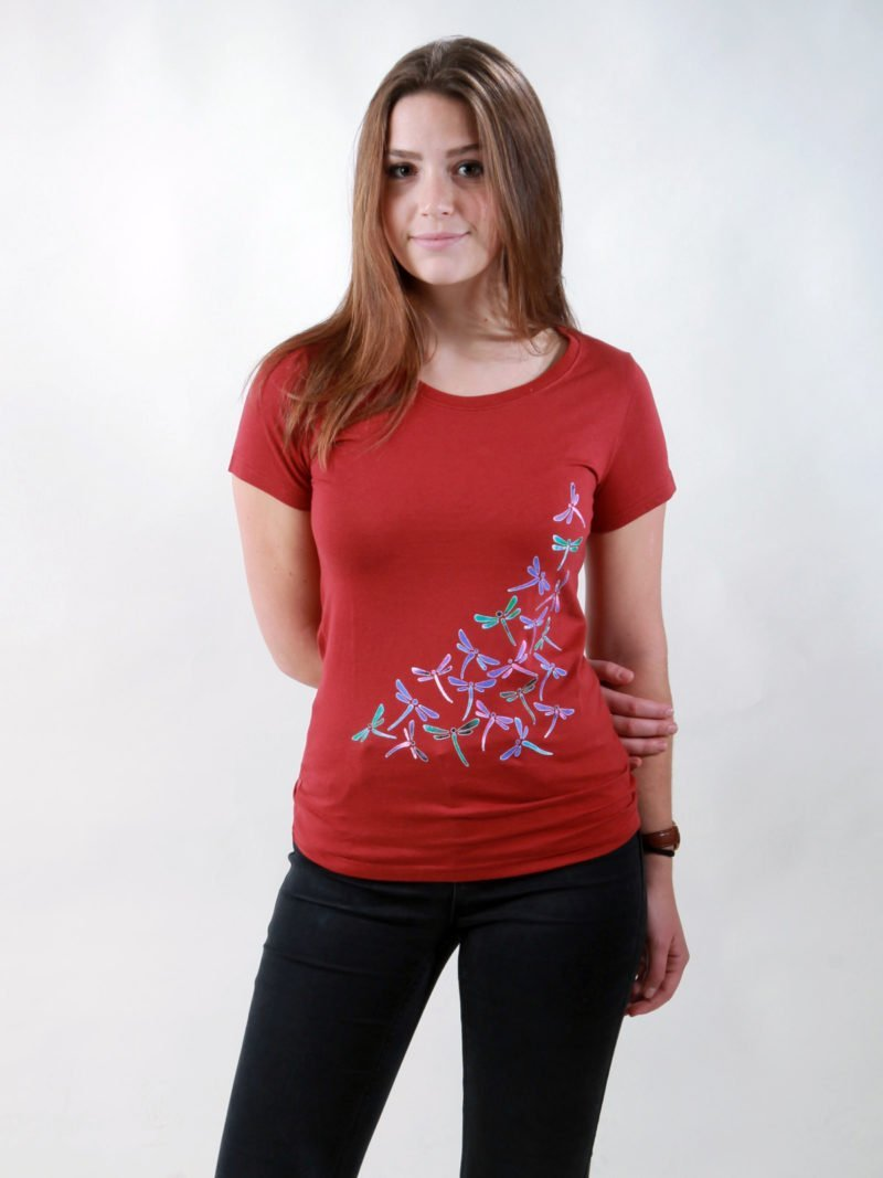 T-Shirt Damen New Dragonflies burning red
