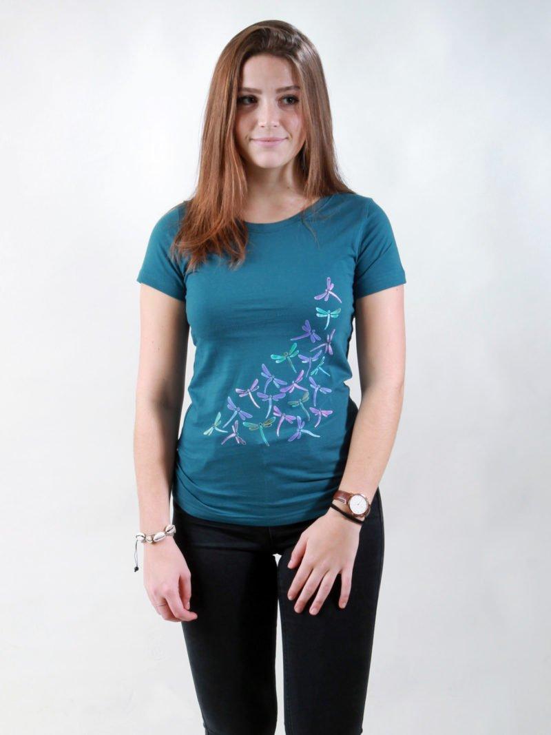 T-Shirt Damen New Dragonflies deep teal