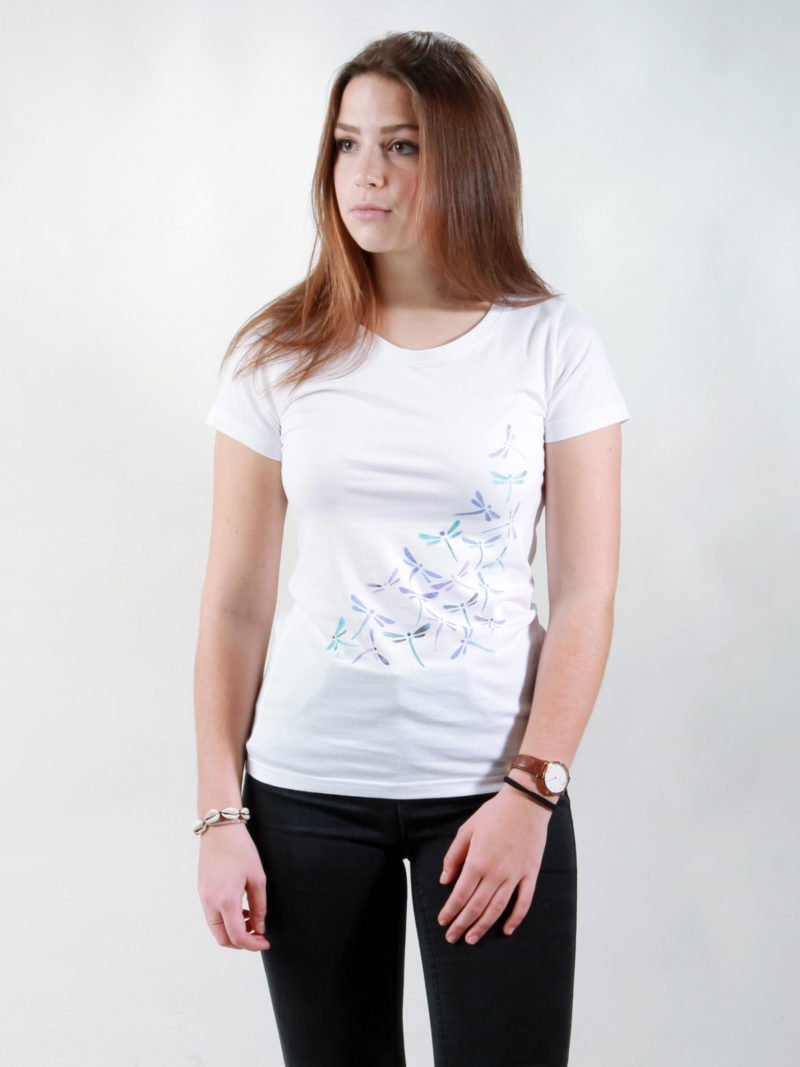 T-Shirt Damen New Dragonflies white