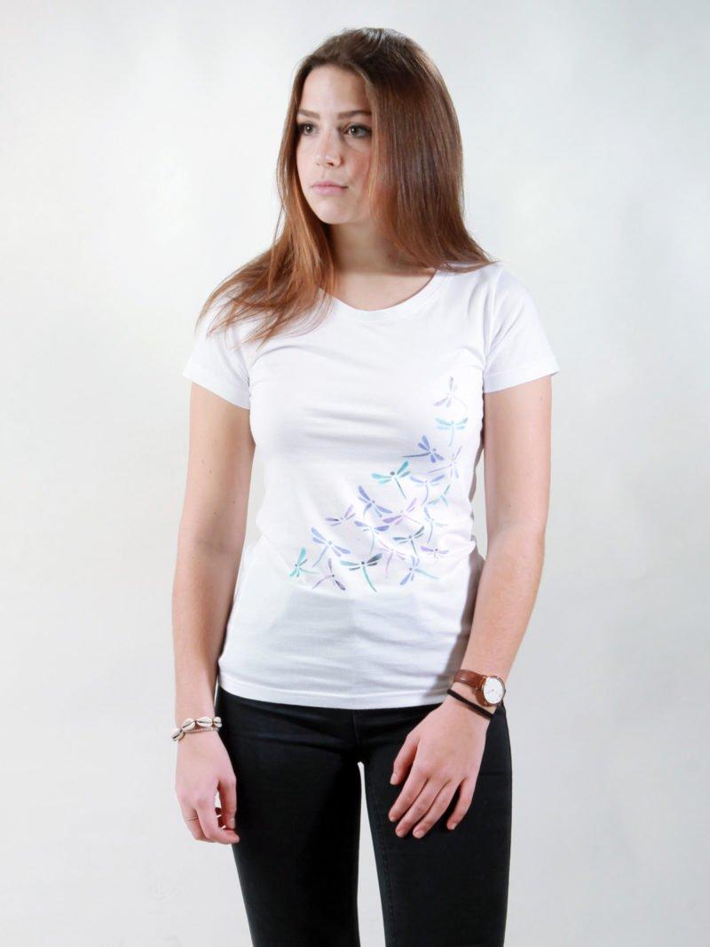 T-Shirt Damen New Dragonflies white