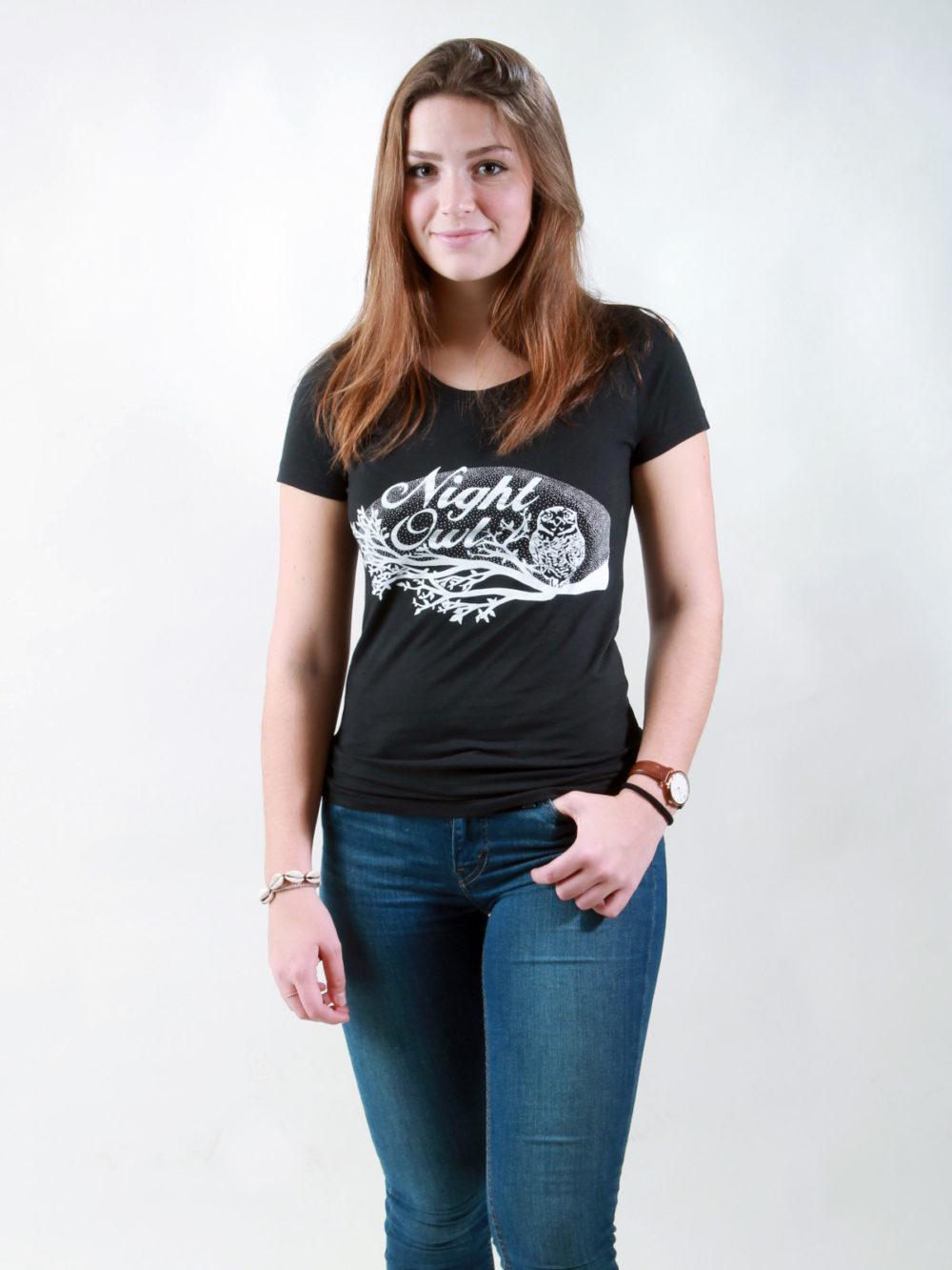 T-Shirt Damen Night Owl black