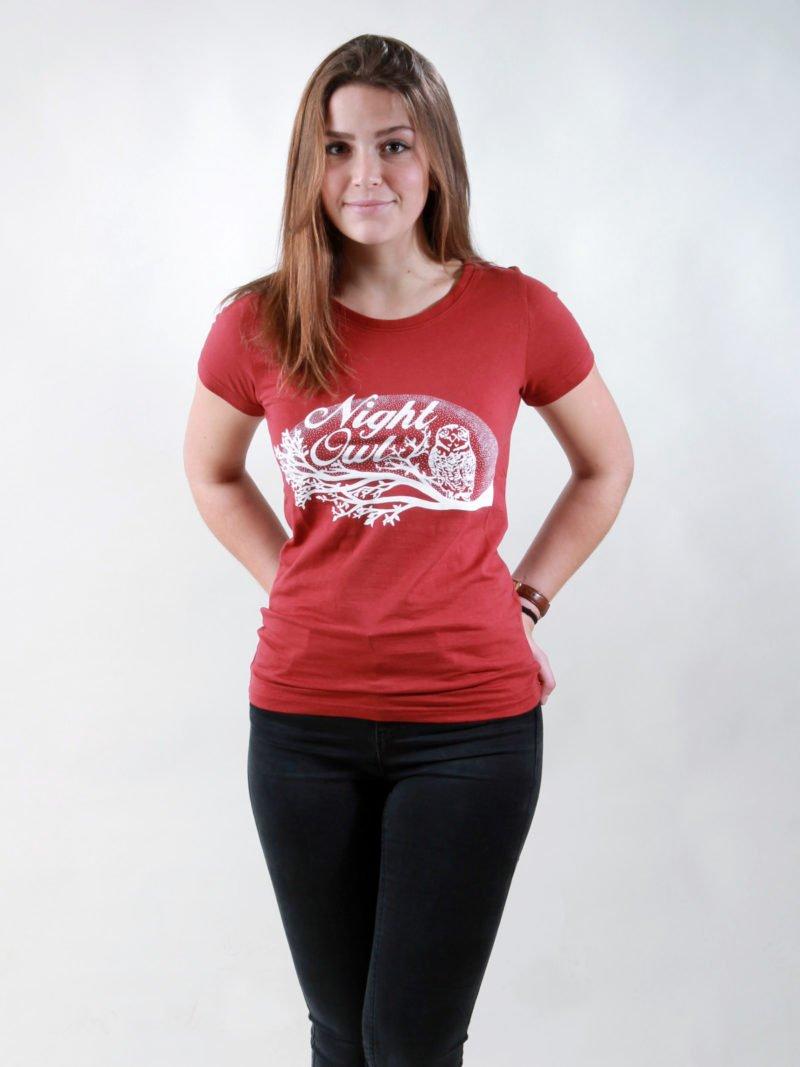 T-Shirt Damen Night Owl burning red