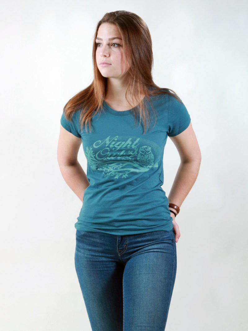 T-Shirt Damen Night Owl deep teal