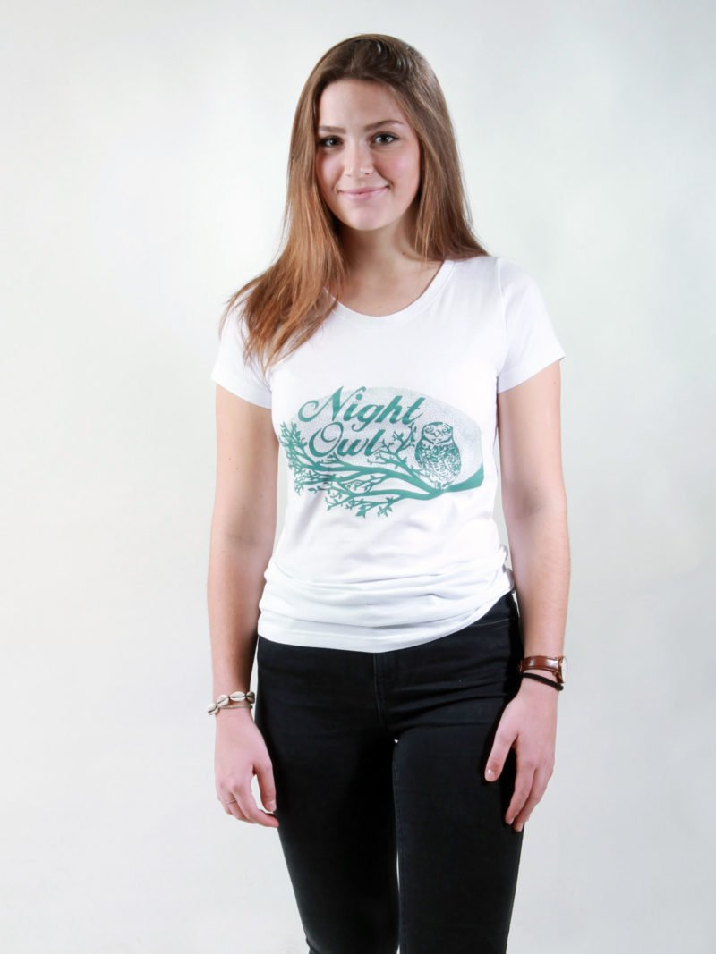 T-Shirt Damen Night Owl white