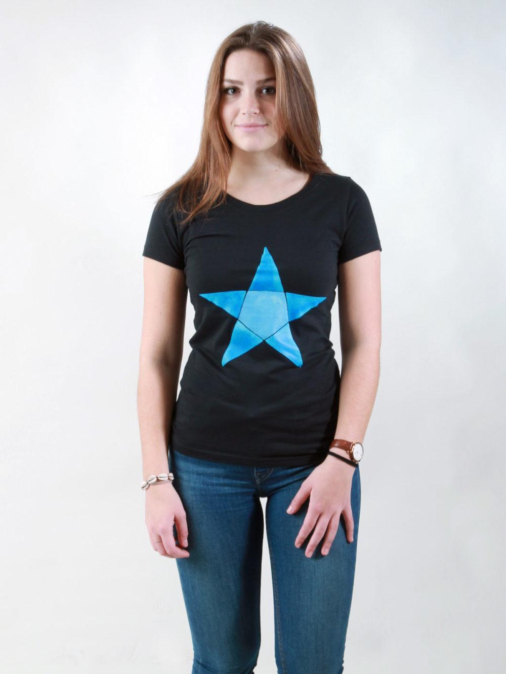 T-Shirt Damen Origami Star black