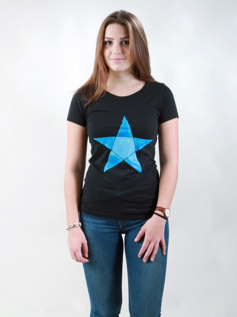 T-Shirt Damen Origami Star black