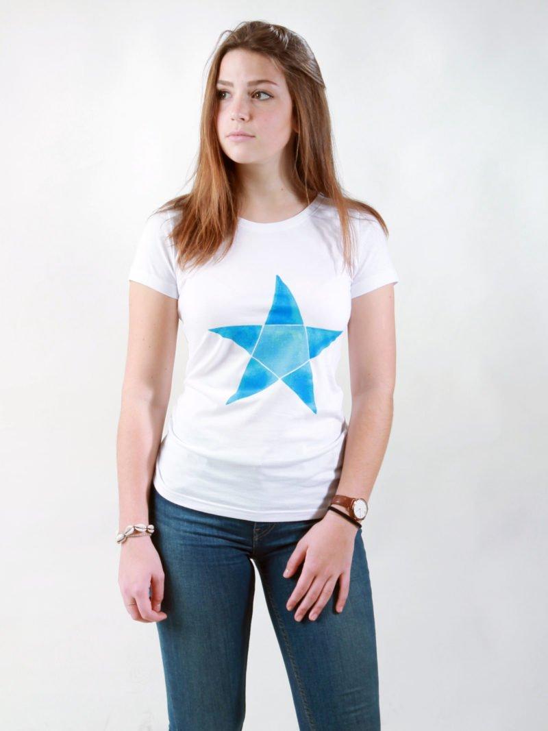 T-Shirt Damen Origami Star white
