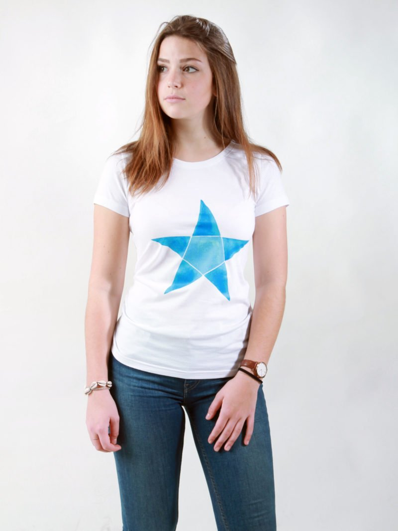 T-Shirt Damen Origami Star white