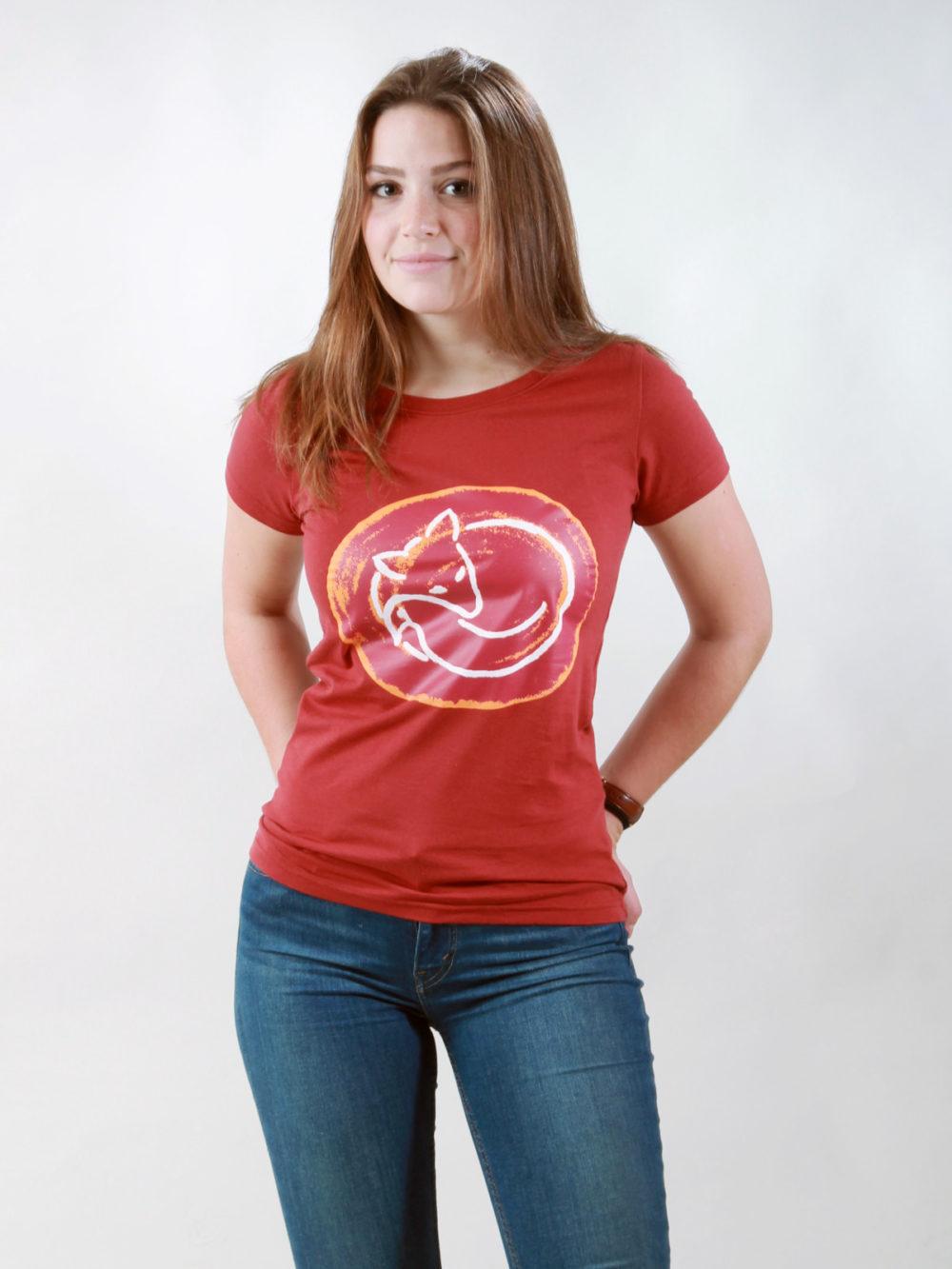 T-Shirt Damen Sleeping Fox burning red